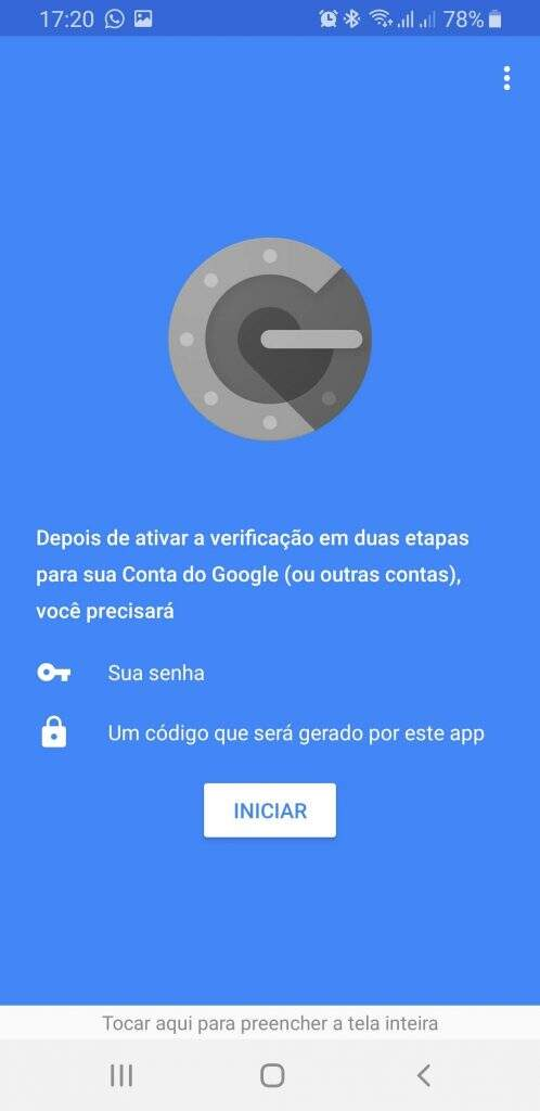Tela inicial Google Authenticator